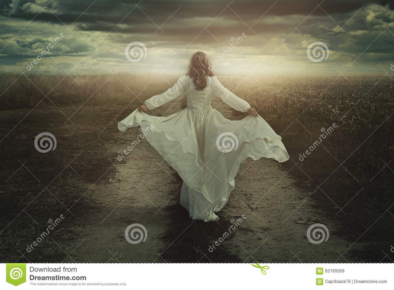 Woman running free in a desolate land