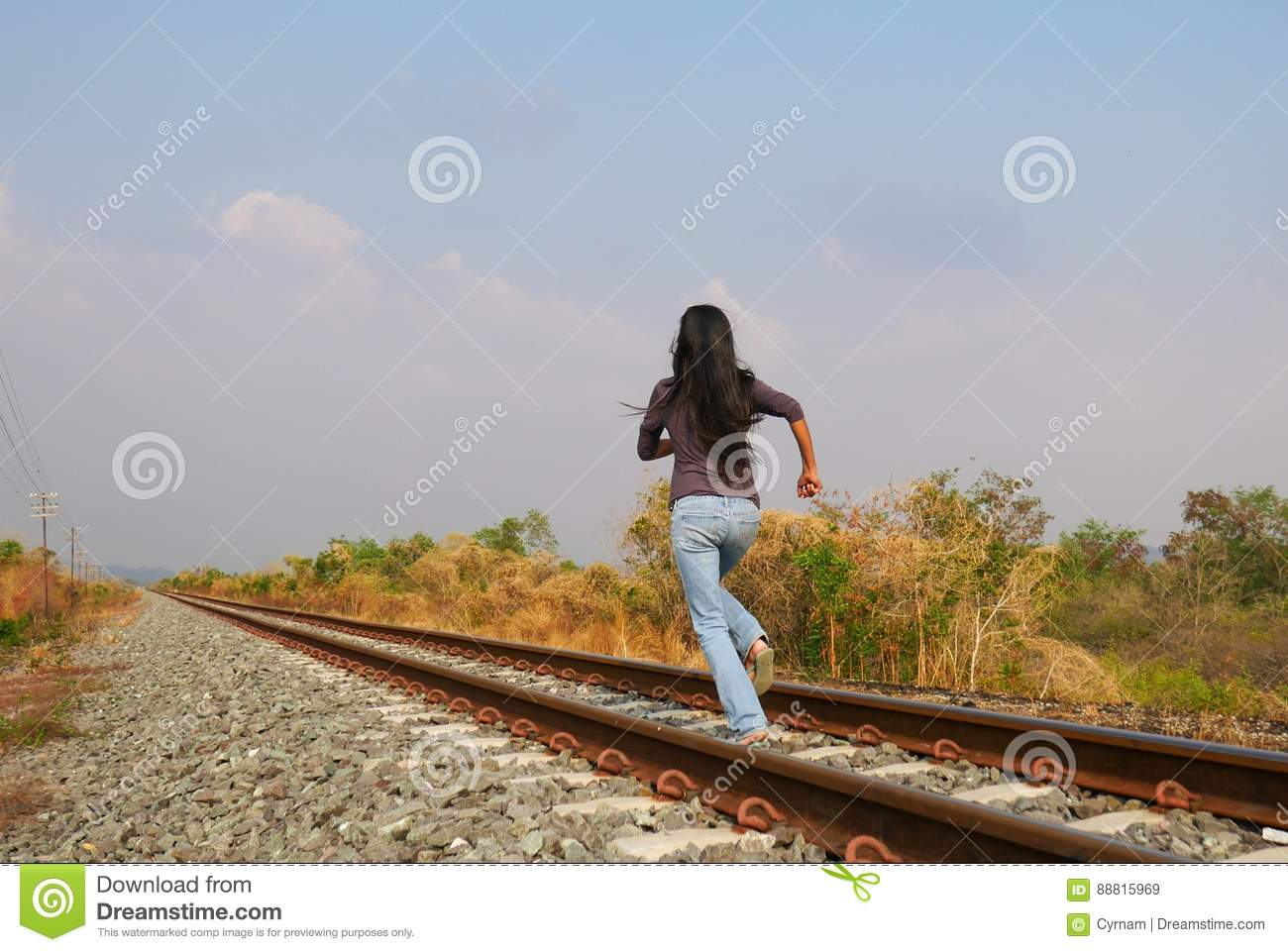 Woman Running On Railway, Need To Escape Stock Image ... Escaping Running