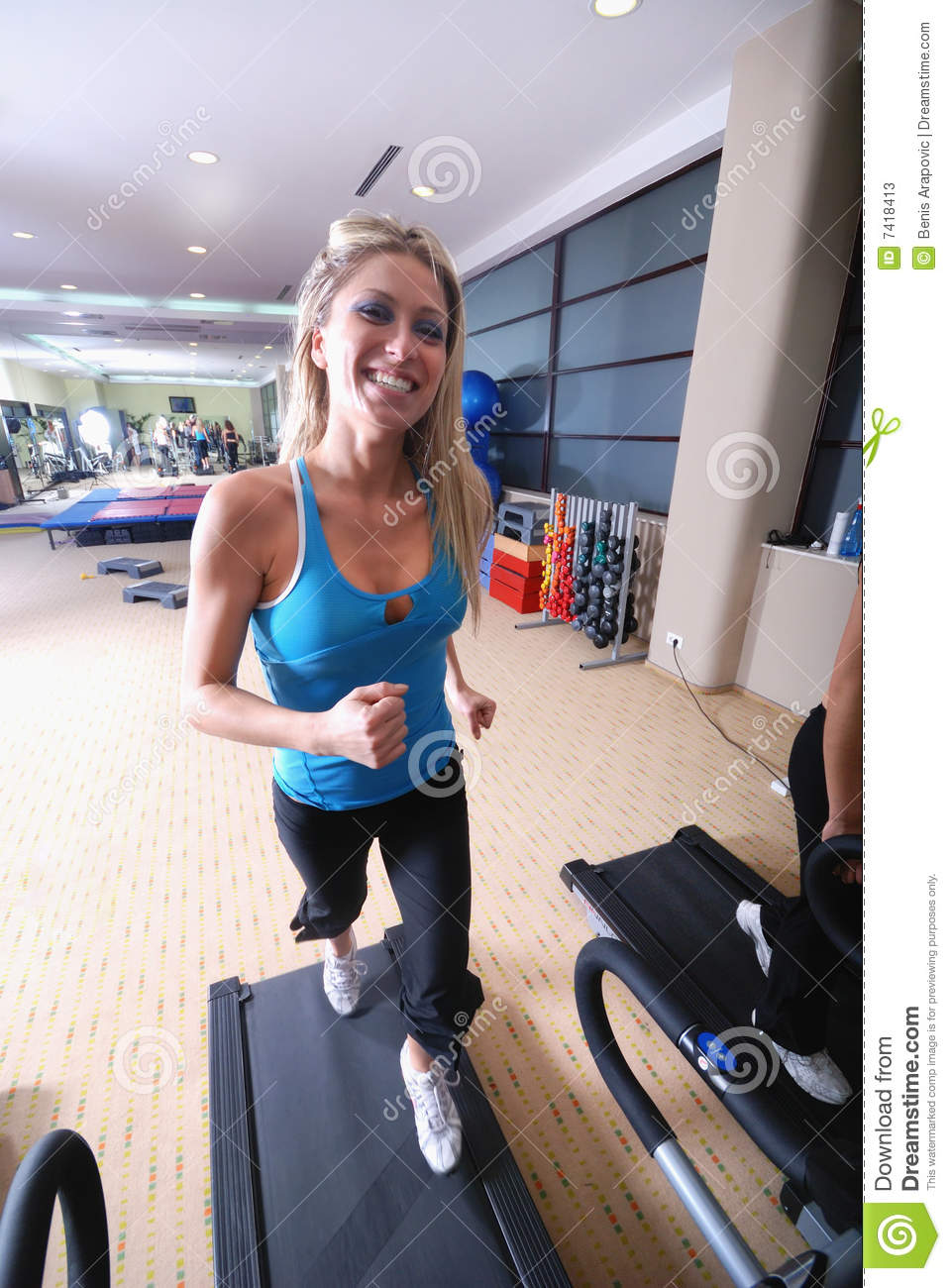 Woman Running On Treadmill Stock Image. Image Of Free ...