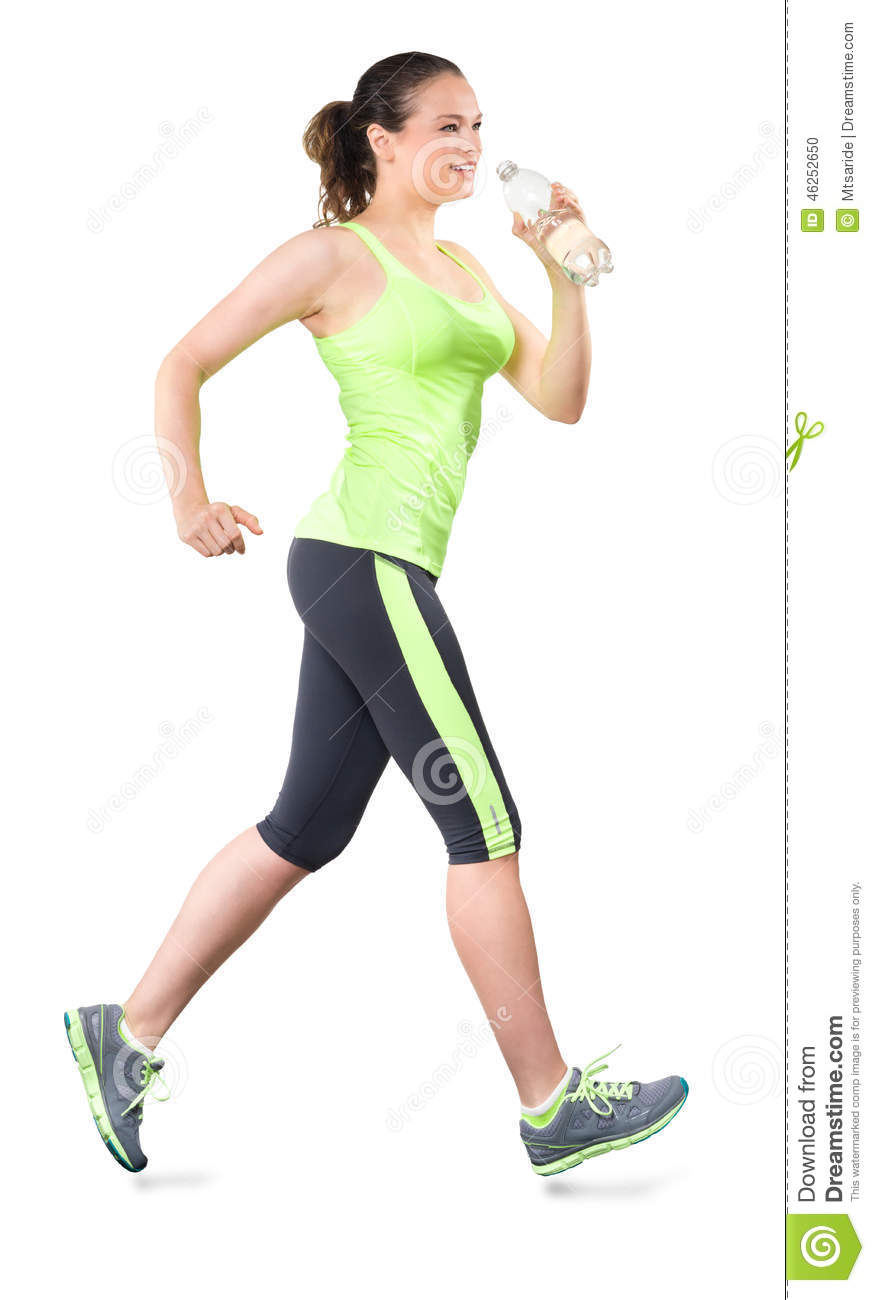 Woman Running With Water Bottle Isolated On White