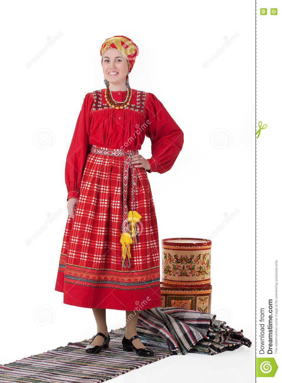 woman in russian traditional clothing stock image  image