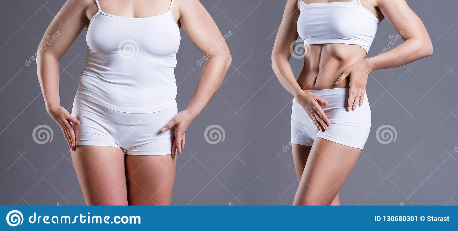 Woman S Body Before And After Weight Loss On Gray Background Stock