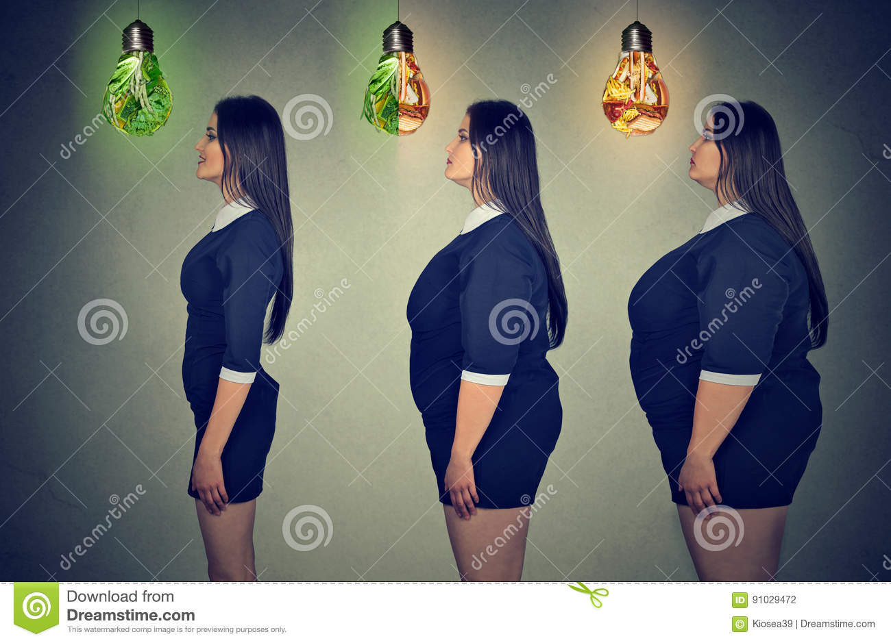 Woman`s body before and after weight loss. Health care and diet concept.