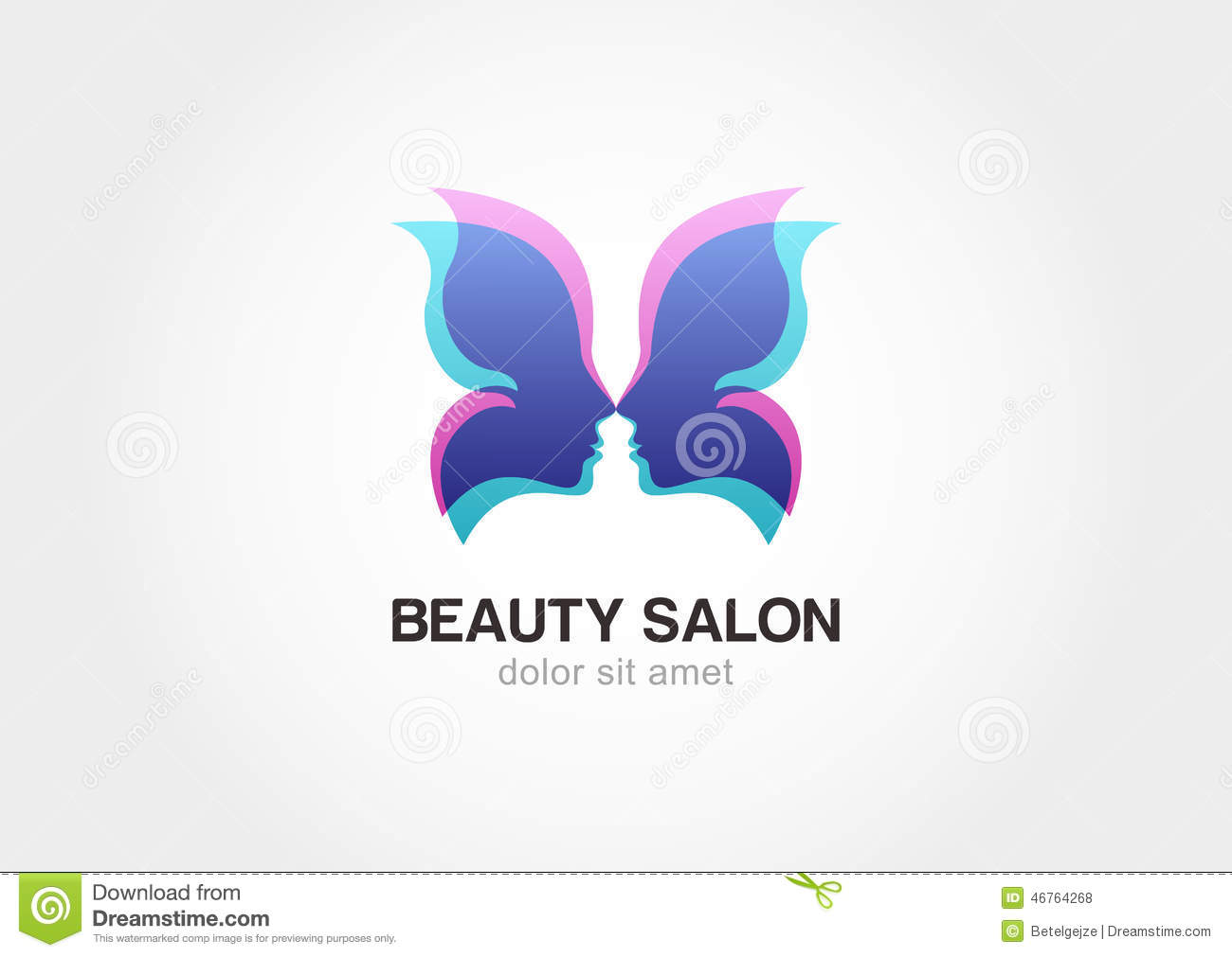 Woman 39 s face in butterfly wings abstract design concept for Abstract beauty salon