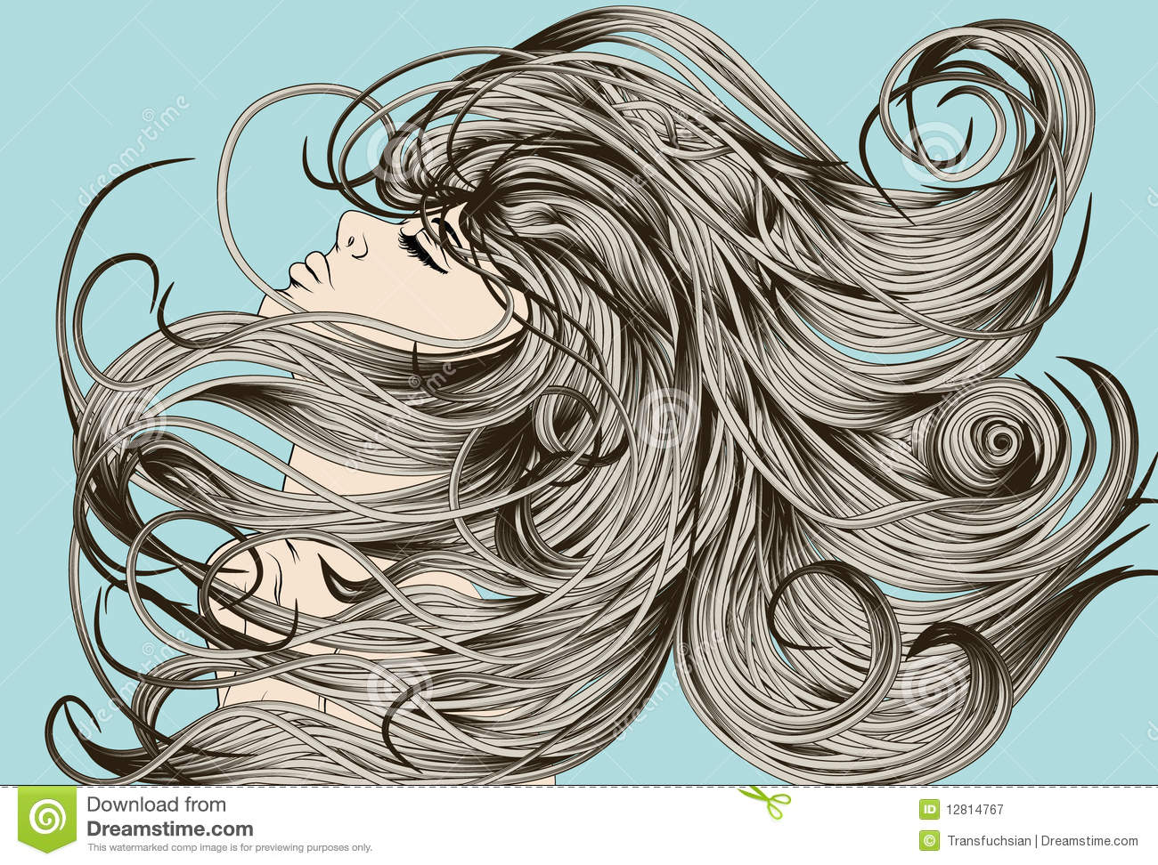 Line Drawing Of Child S Face : Woman s face flipping detailed hair stock vector illustration of