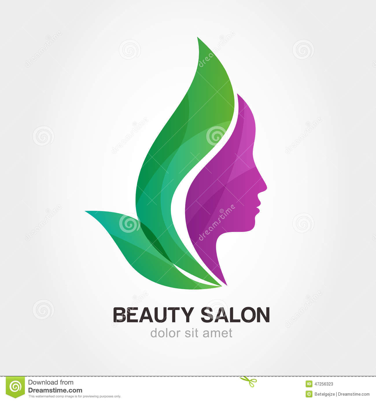Woman 39 s face in flower leaves abstract design concept for for Abstract beauty salon