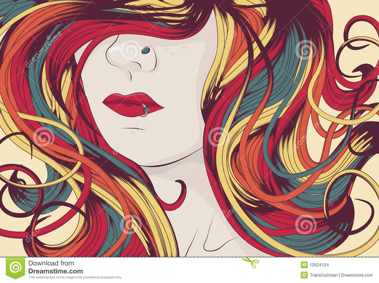 Woman s face with long colorful curly hair