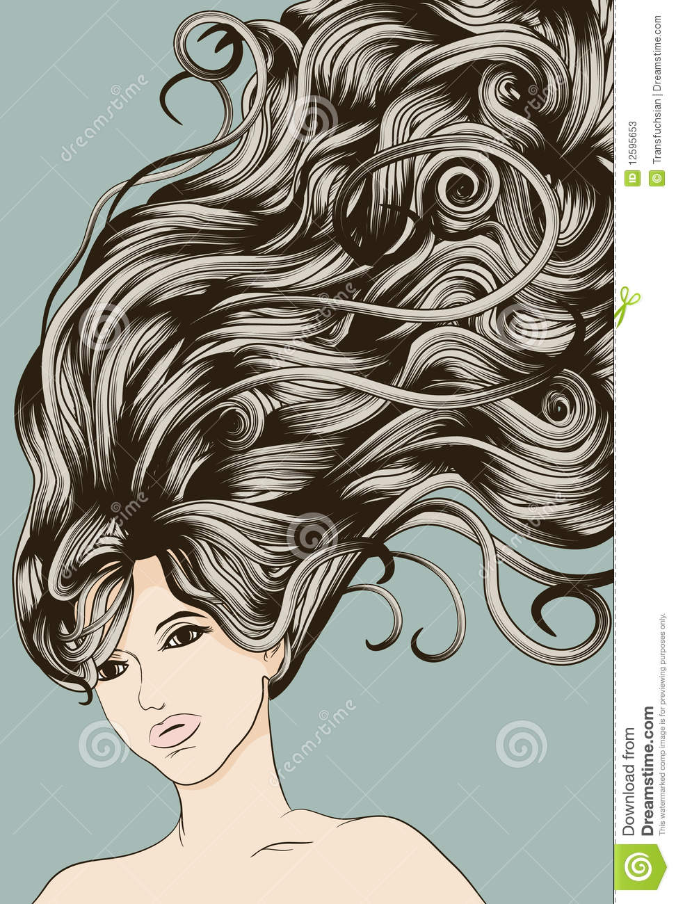 Woman S Face With Long Detailed Flowing Hair Stock Vector ...