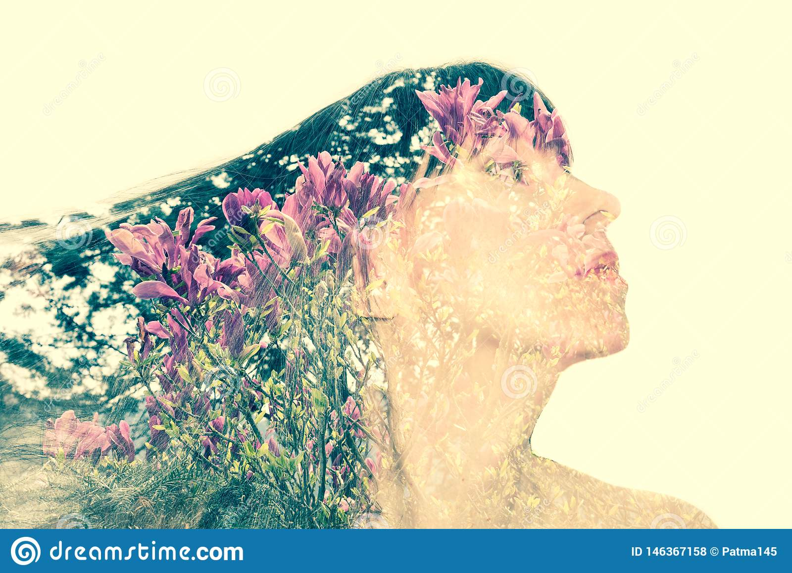 Woman S Face In Profile Stock Photo Image Of Background