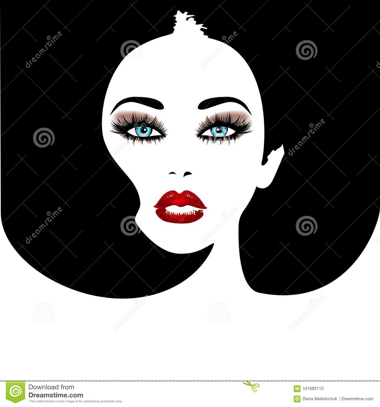 Woman`s Face With Red Lips And Blue Eyes. Vector Fashion