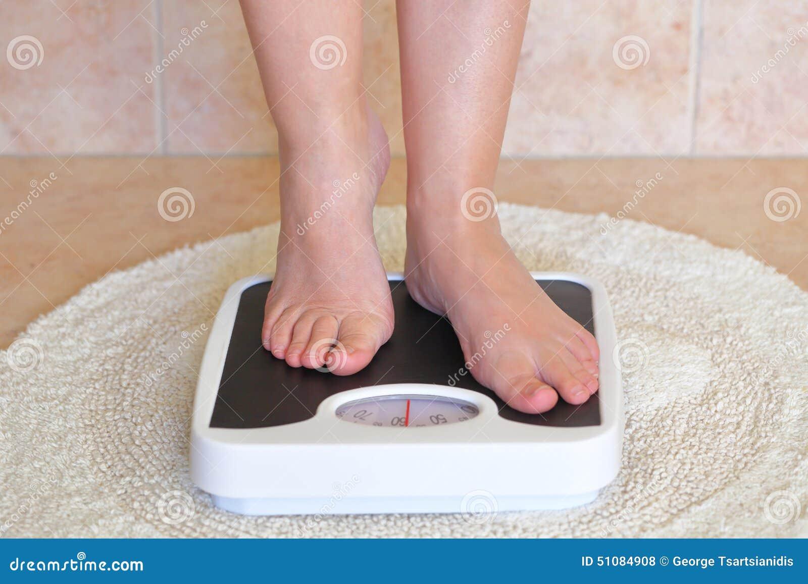 Feet On A Bathroom Scale Vector Illustration