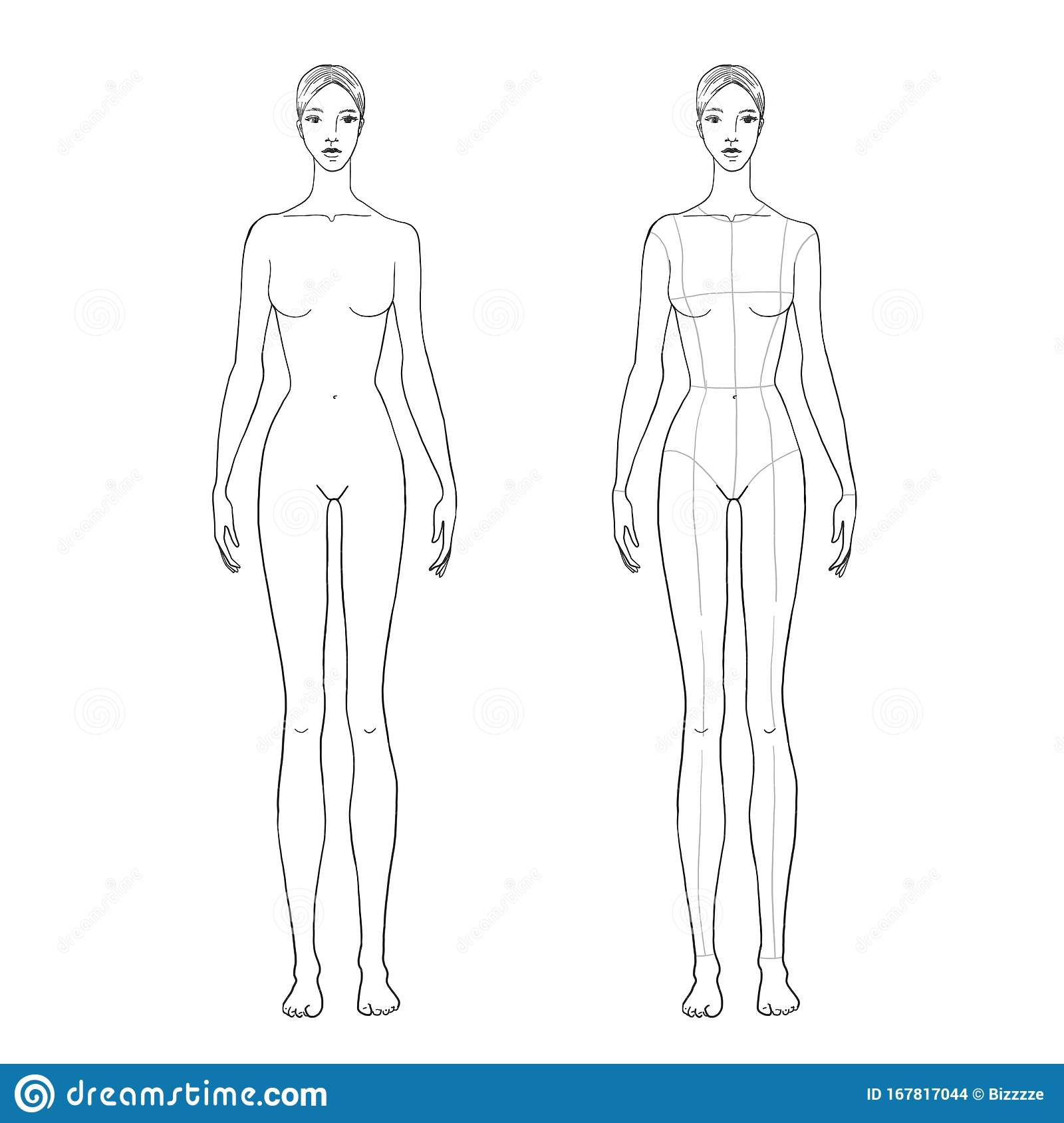 Woman S Figure Sketch For Technical Drawing With Main Lines Vector Outline Girl Model Template For Fashion Sketching Stock Vector Illustration Of Anatomy Education 167817044