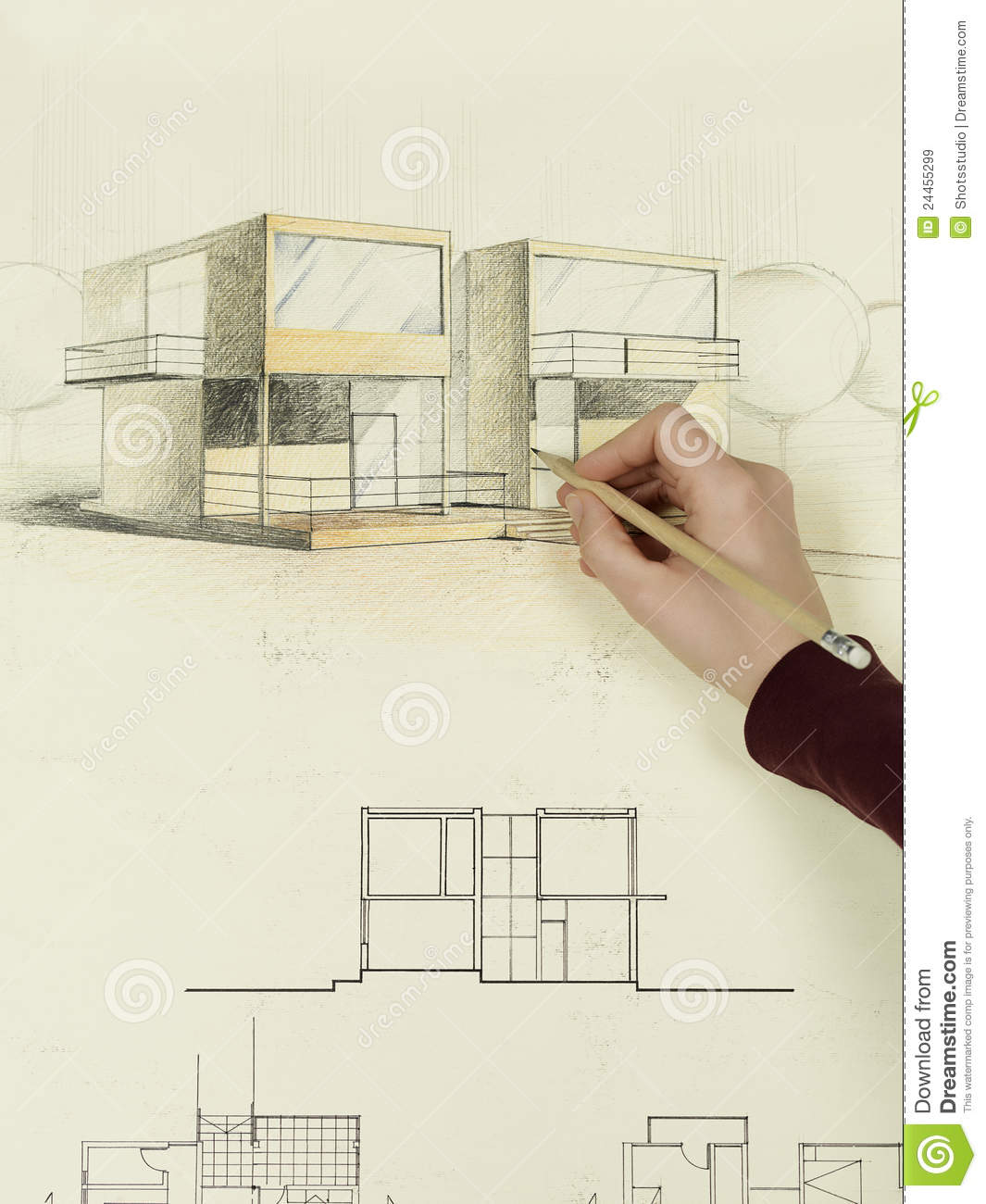 Woman 39 s hand drawing architectural sketch of house stock Online architecture drawing