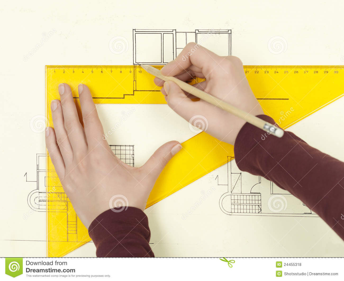 Architecture Drawing Hand woman's hand drawing architectural sketch of house royalty free