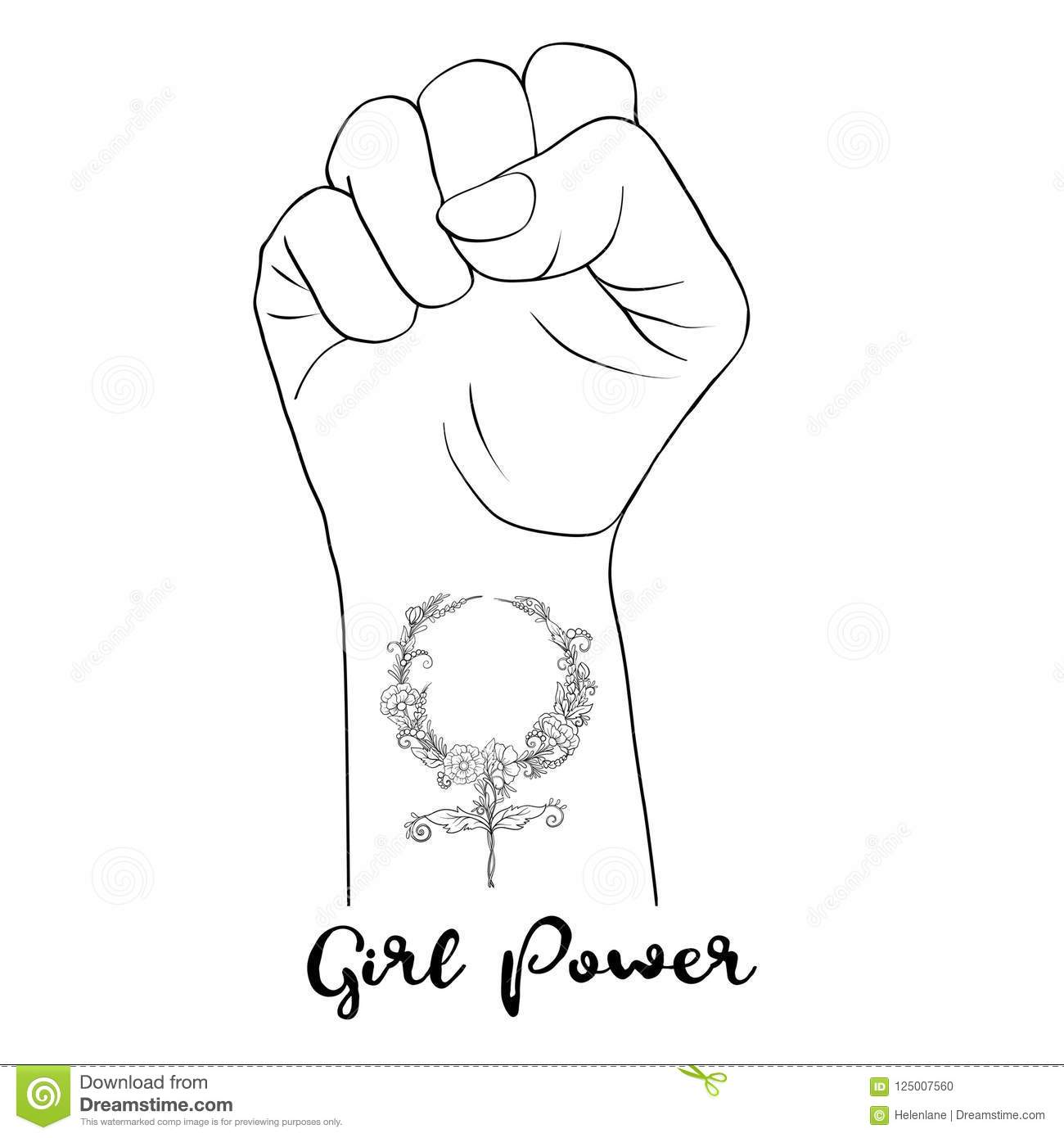 Woman S Hand Fist Raised Up Freedom Sign With Feminism Sign With