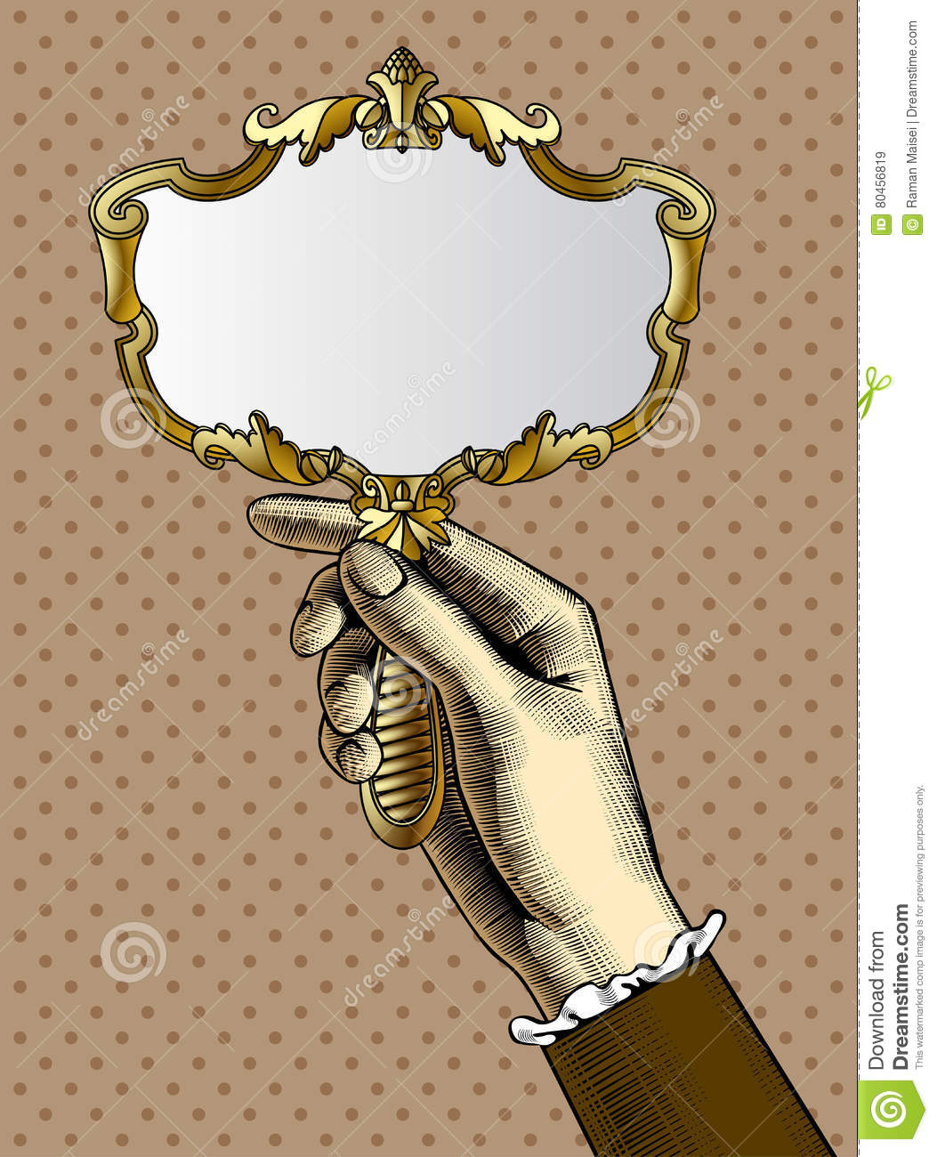 Antique Hand Mirror Drawing On Womans Hand With Gold Retro Mirror Hand With Gold Retro Mirror Stock Vector Illustration Of