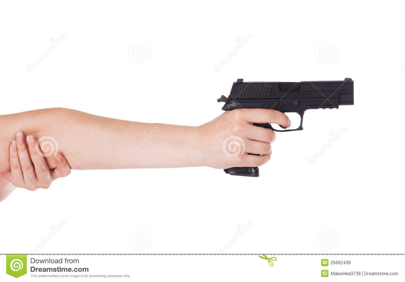 Woman's hand holding a gun stock image. Image of clean ...