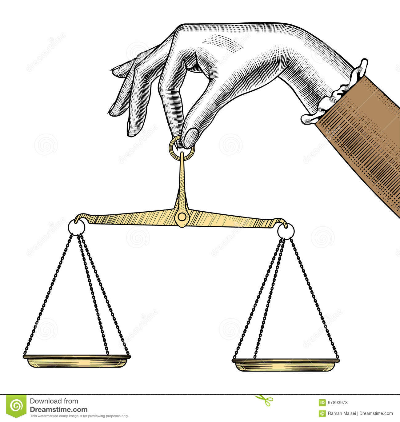 Woman S Hand With Old Weight Scales  Stock Vector