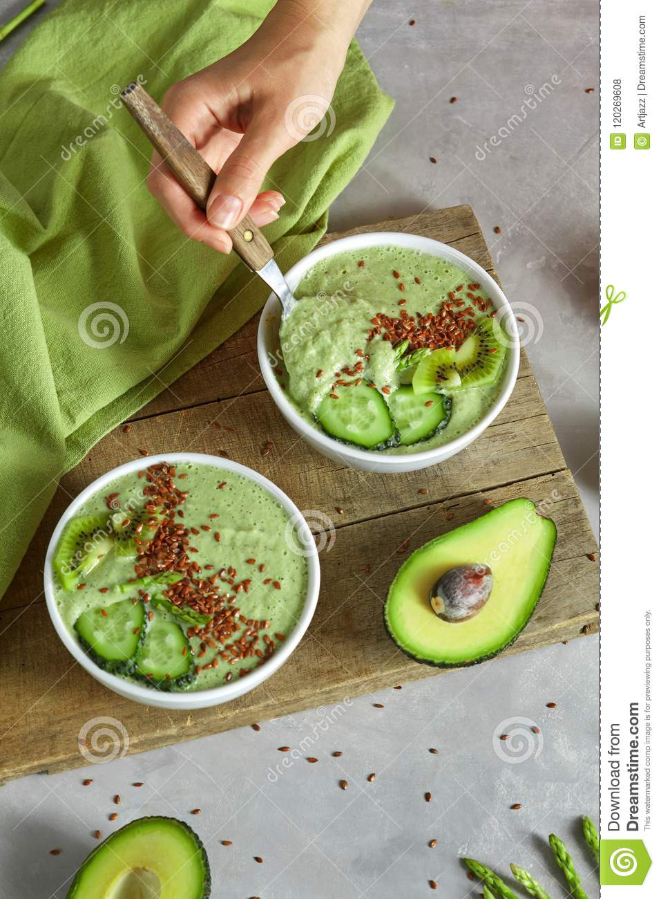 Healthy Green Smoothies From Avocado Cucumber Kiwi And Flax Seeds