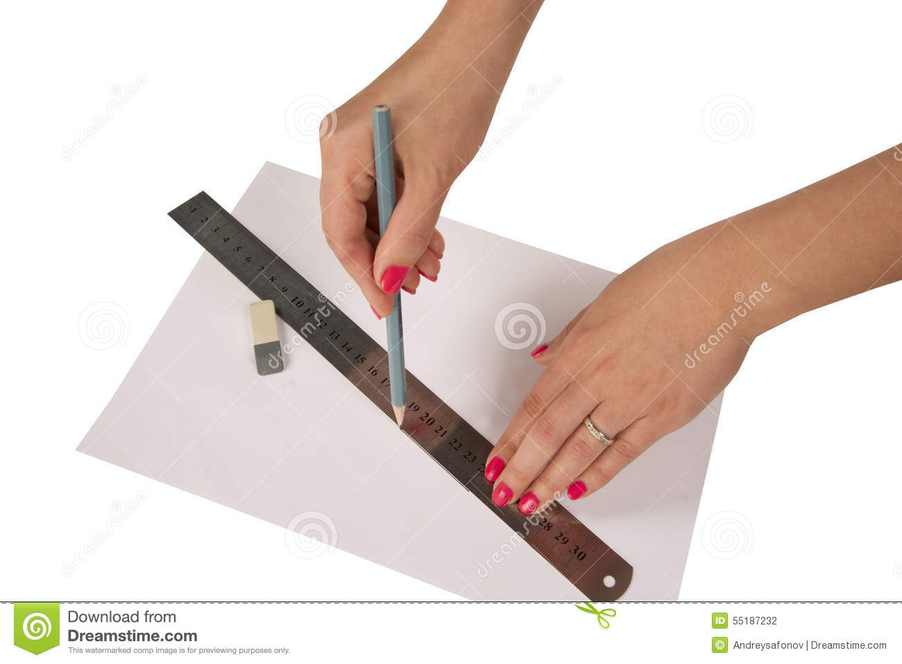 woman s hands drawing line with pen and ruler stock photo image of