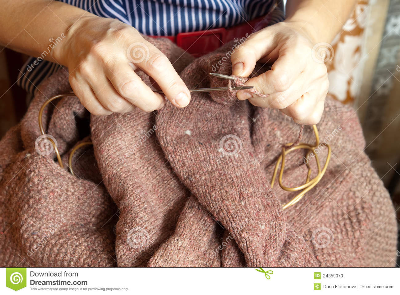 Knitting With Hands Only : Woman s hands knitting stock photos image