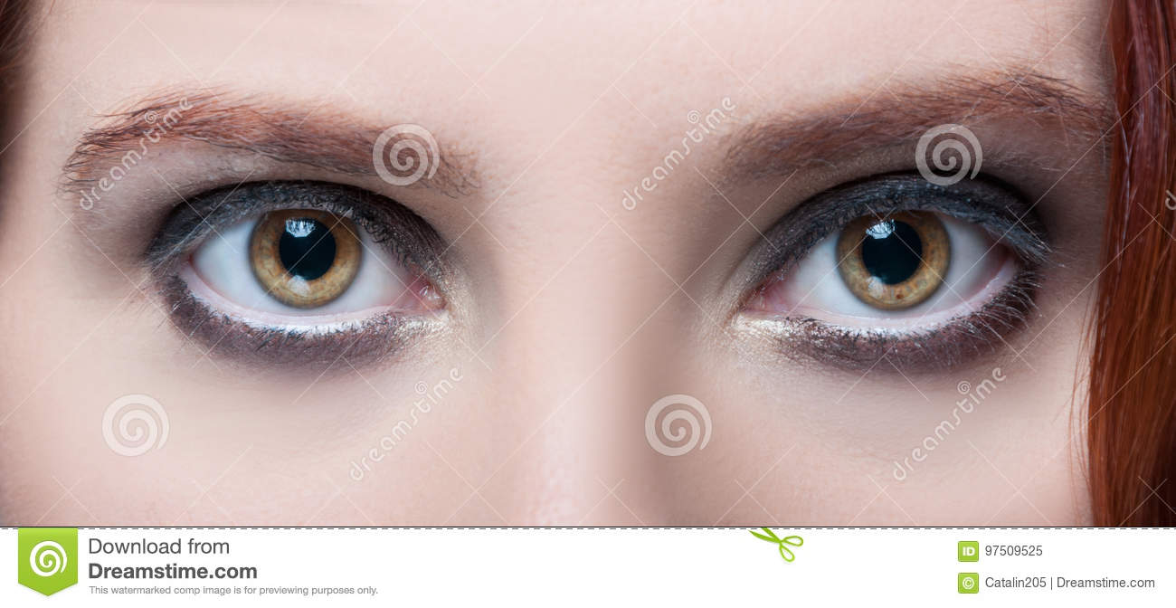Womans Hazel Eyes With Makeup And Brown Eyebrows Stock Image