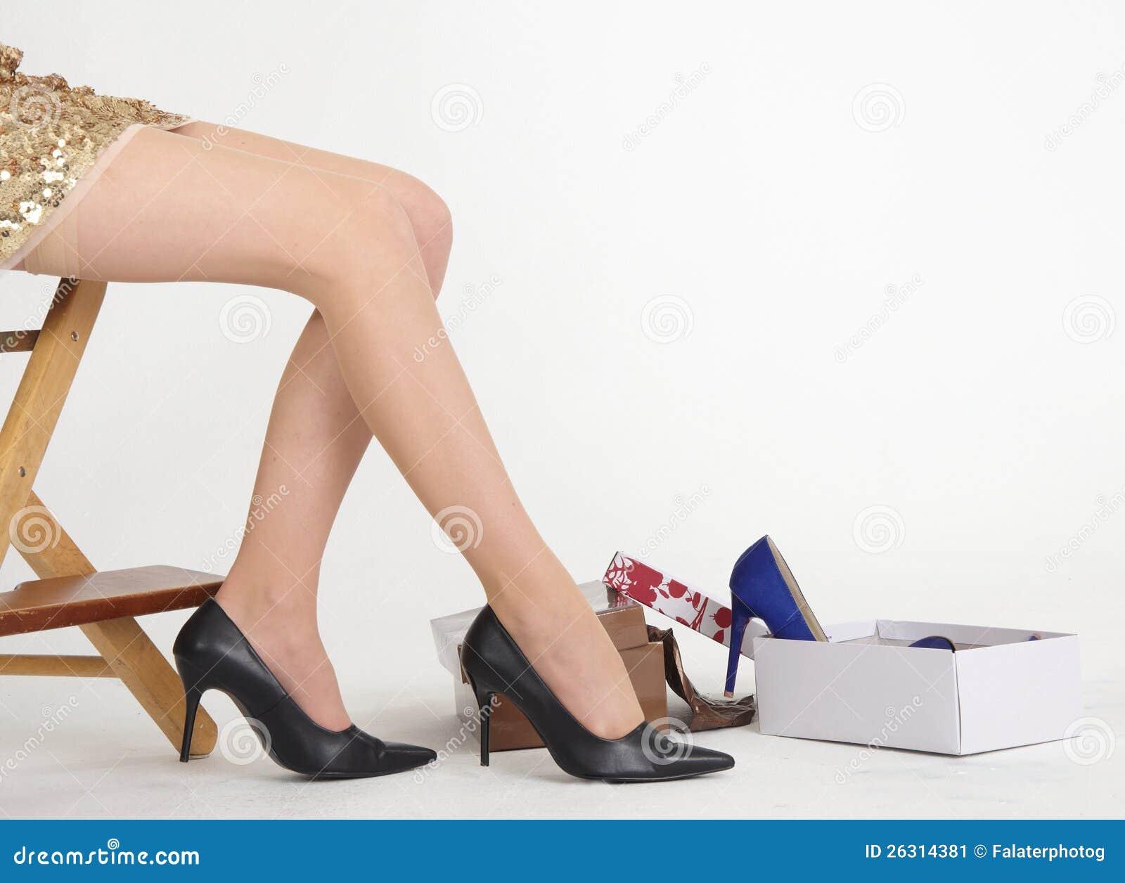 s legs shoe shopping in shoe store stock image