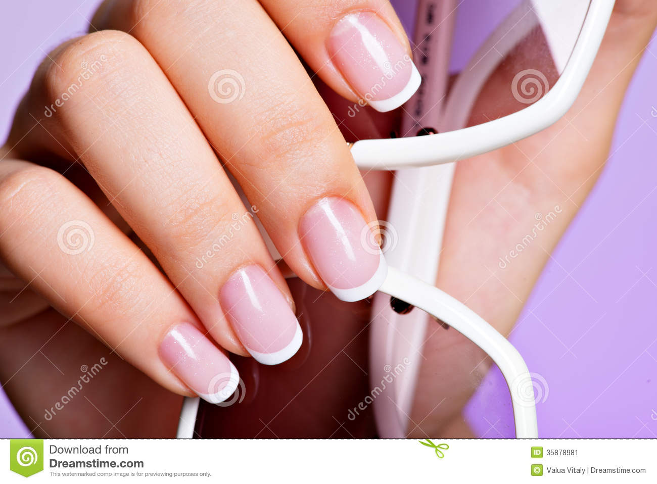 woman u0026 39 s nails with beautiful french white manicure stock image
