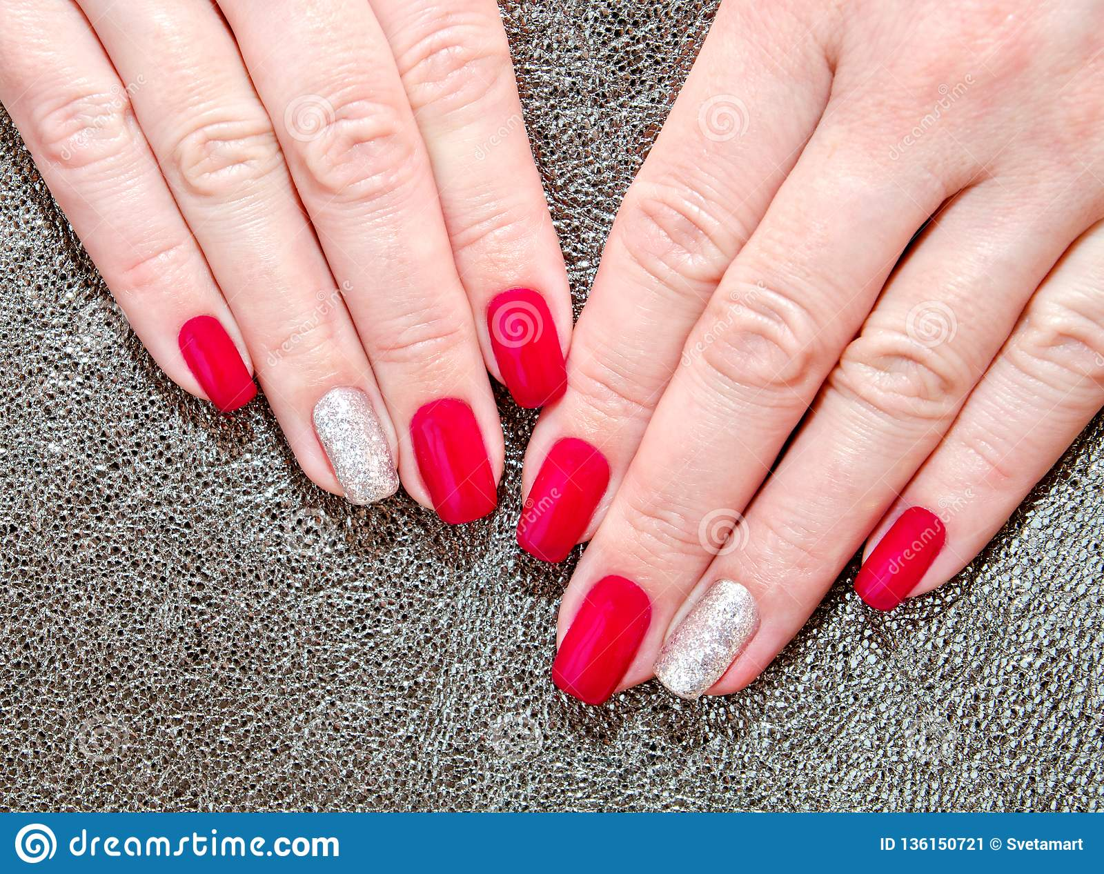 Woman`s Nails With Beautiful Red Manicure Fashion Design Stock Image ...