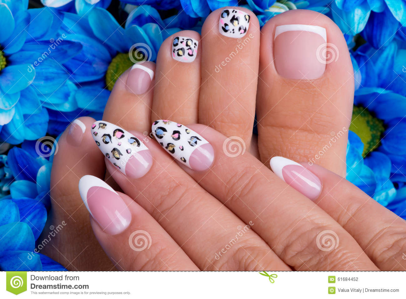 woman u0026 39 s nails of hands and legs with french manicure stock photo