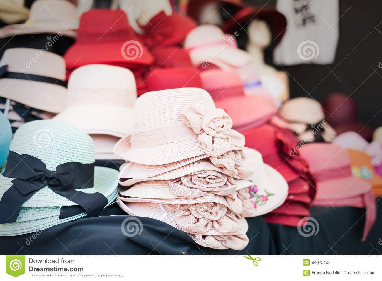 Women`s summer hats and scarves at the street market fcf48e72accc