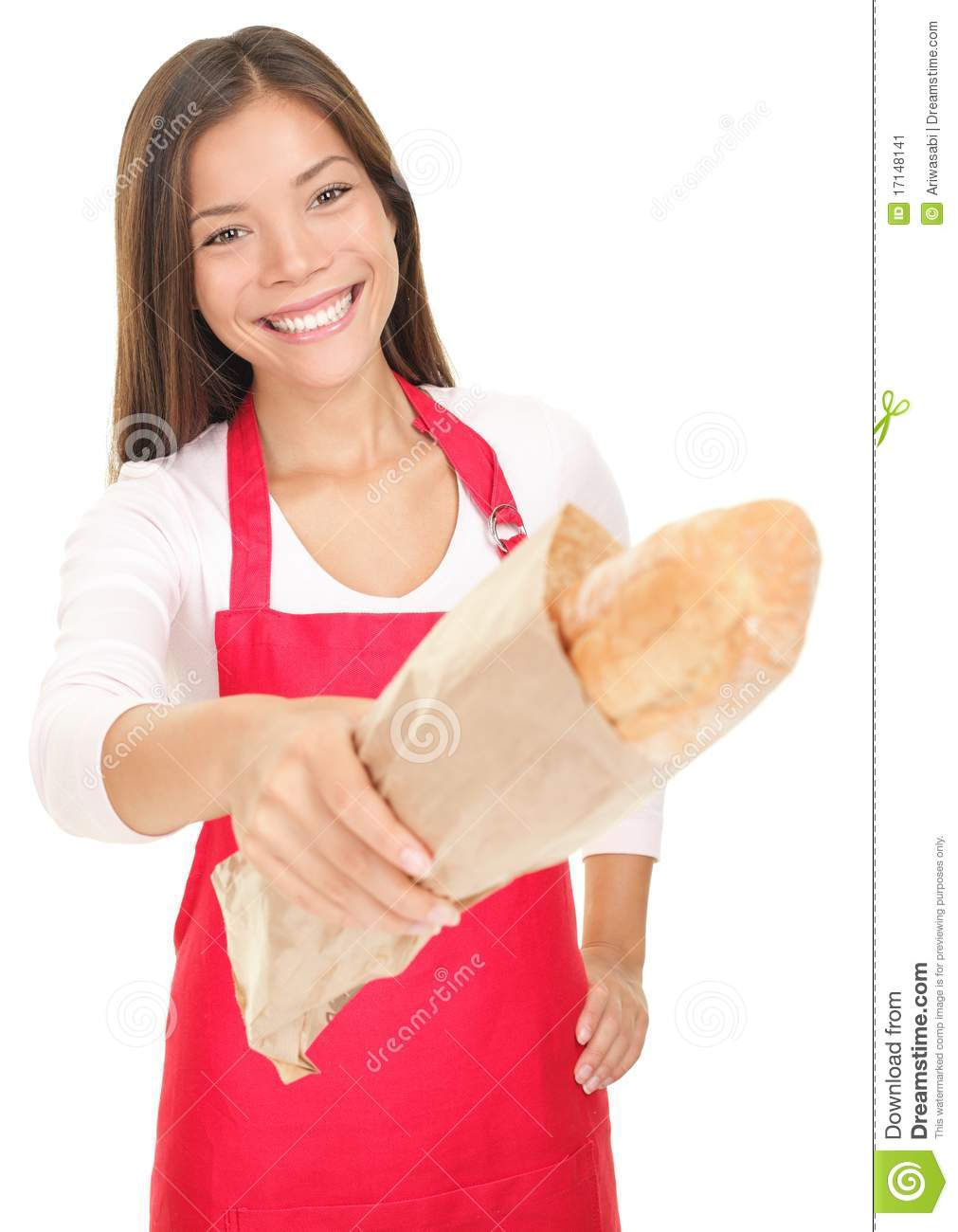 Woman Sales Clerk Giving Bread Stock Image - Image: 17148141