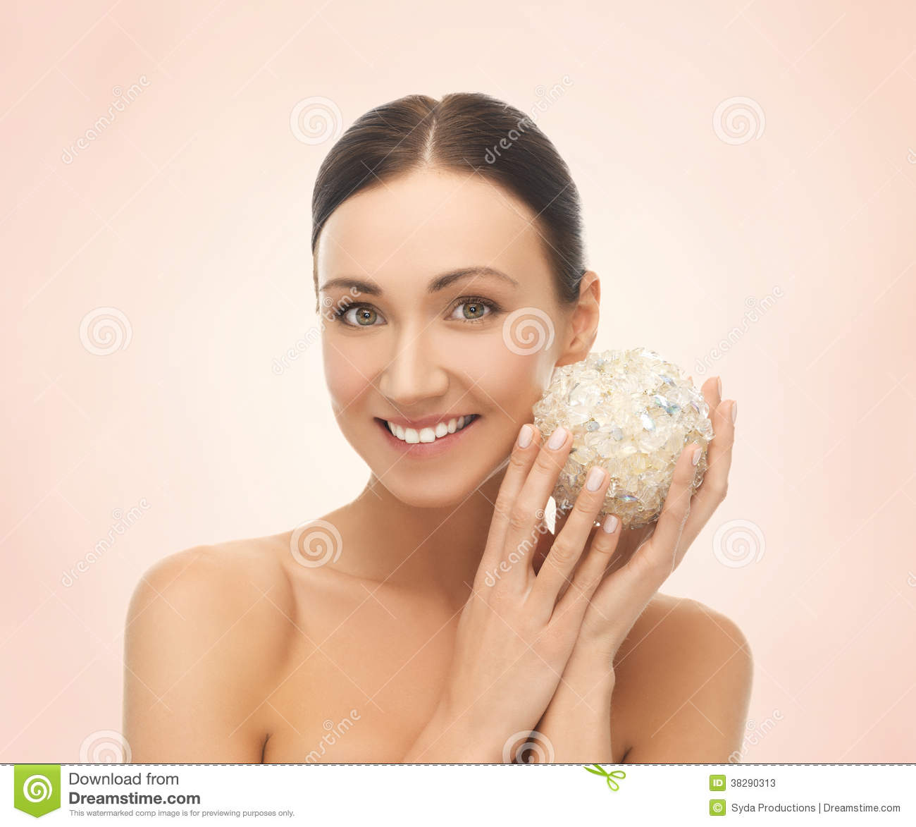 Woman with salt ball for bathing