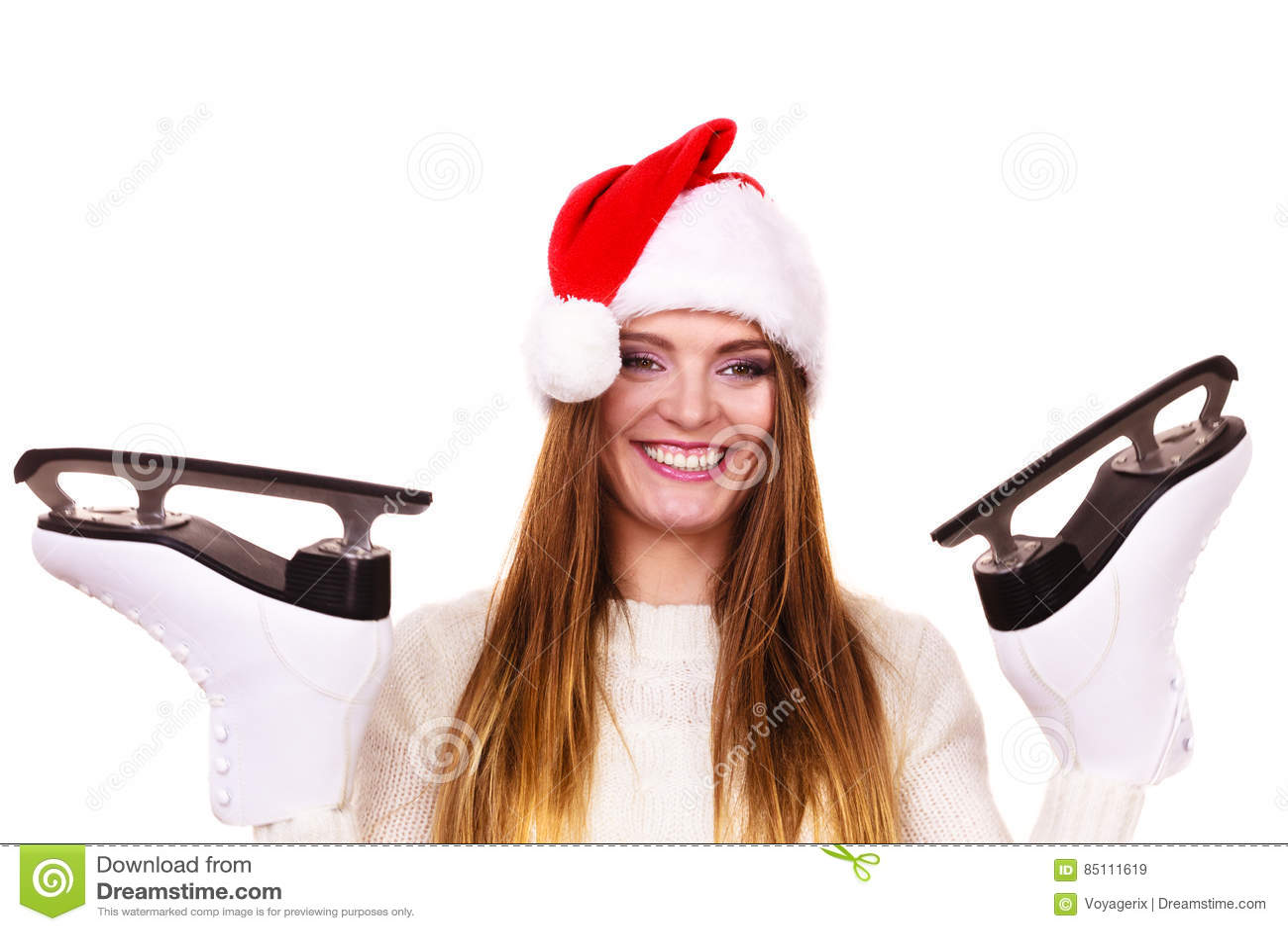68466fb1913 Woman Santa Claus With Ice Skates Stock Image - Image of woman ...