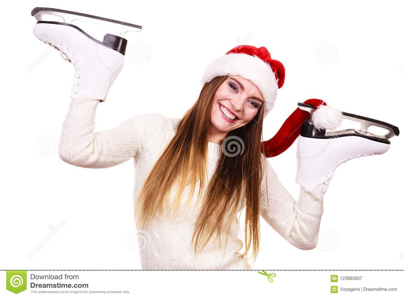 61403a13358 Woman Santa Claus With Ice Skates Stock Image - Image of gift ...