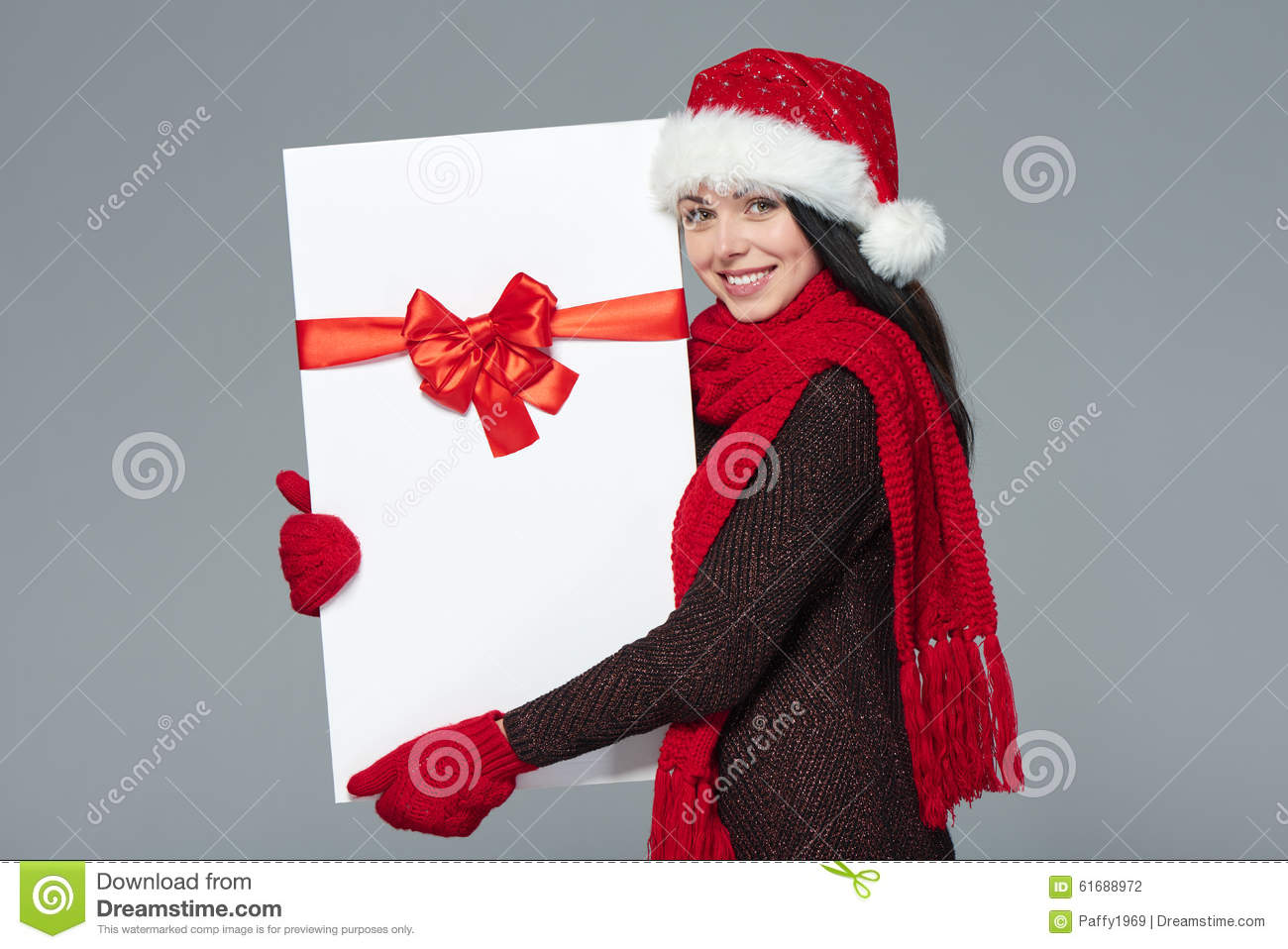 86aeda95dd9 Woman In Santa Hat Holding White Banner Stock Photo - Image of ...