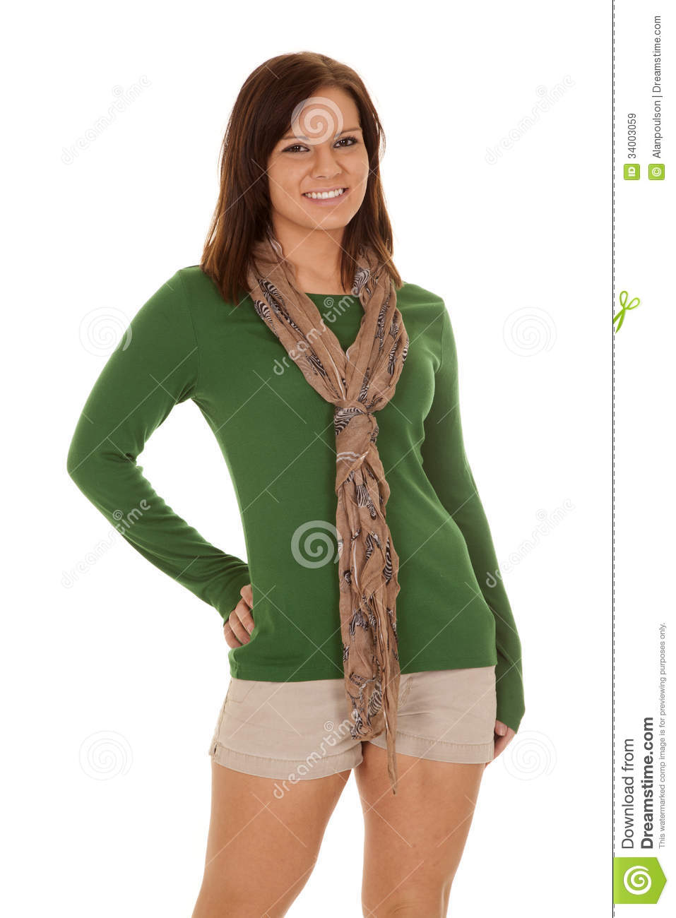 Woman Scarf Green Shirt Smile Hand Hip Royalty Free Stock Images ...