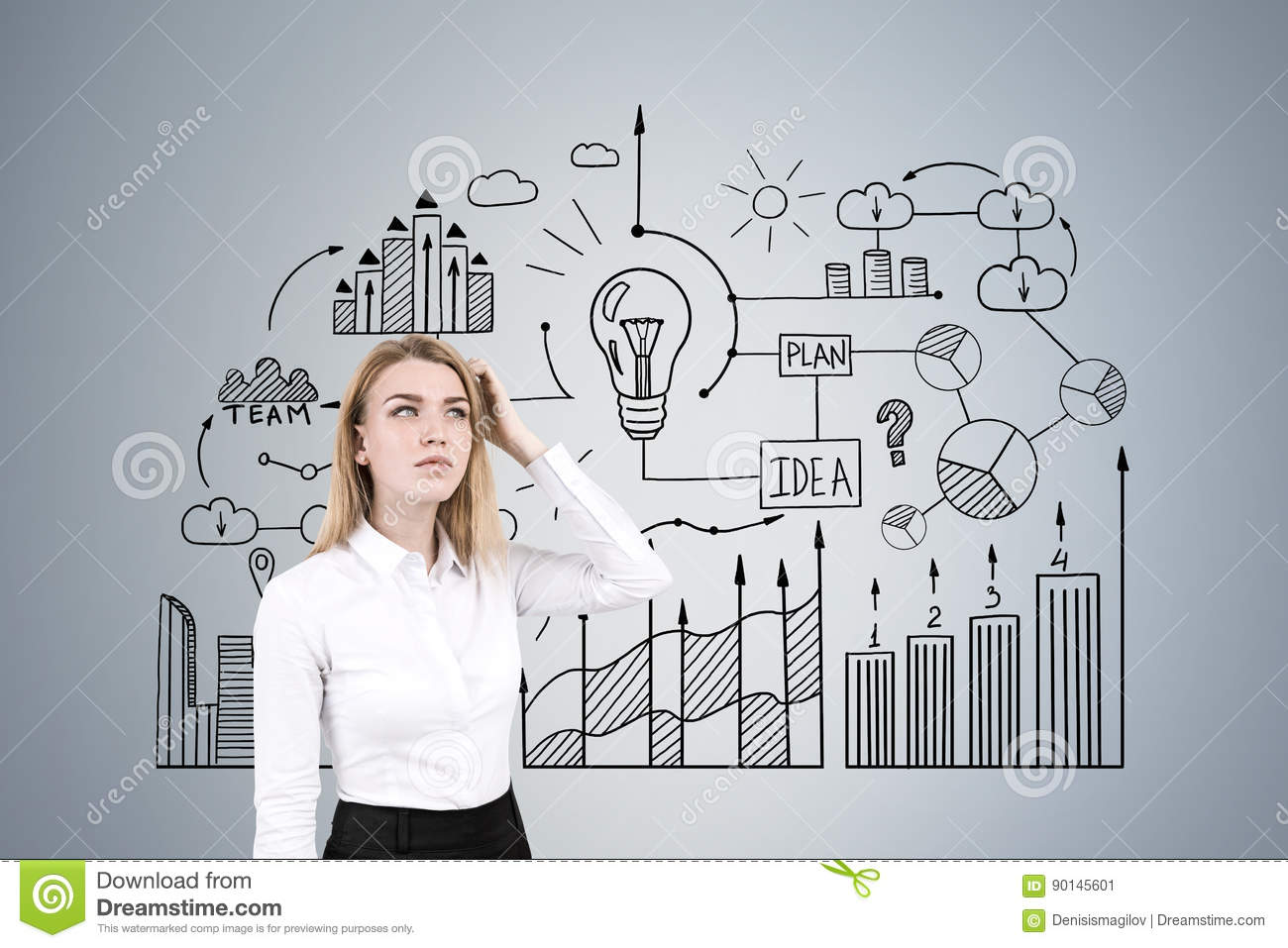 Woman Scratching Head And Business Diagram Stock Image - Image of ...