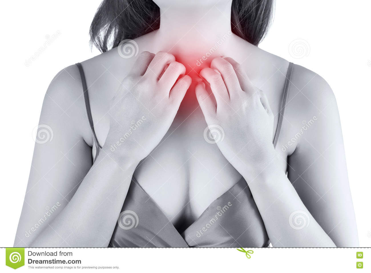Woman scratching her itchy chest