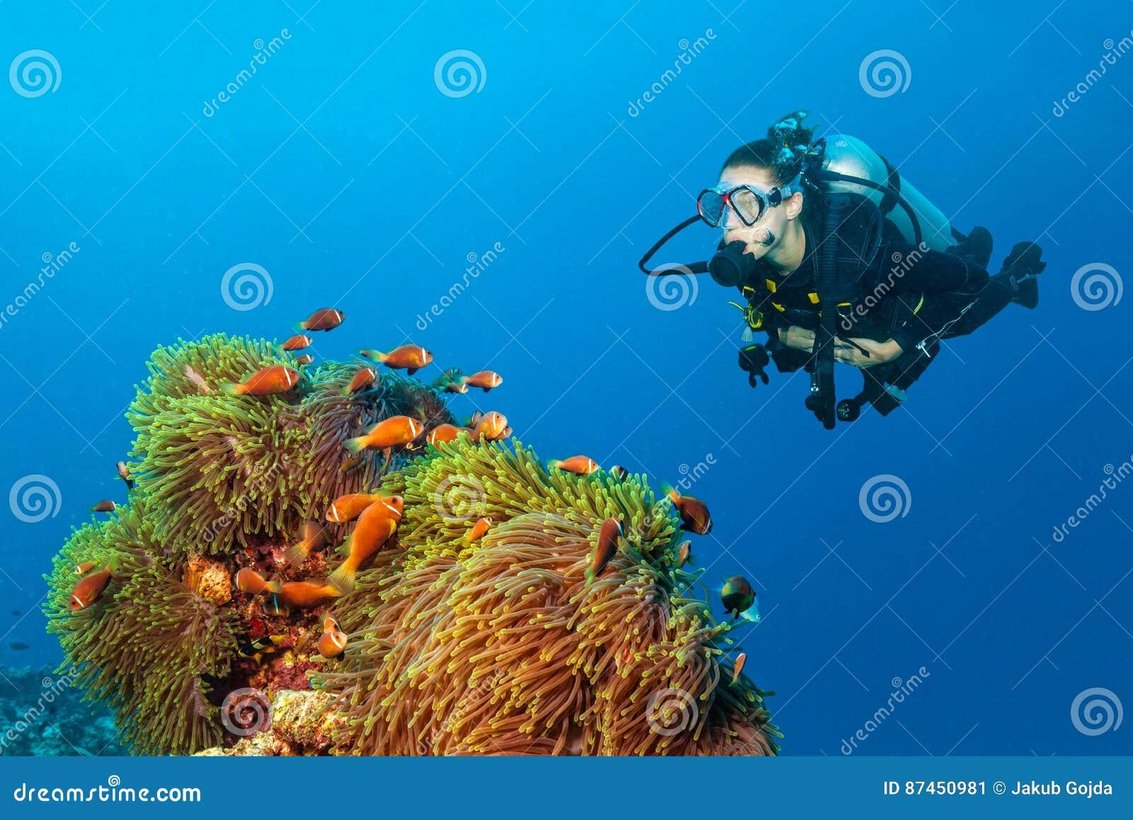 Woman scuba diver exploring claun fish