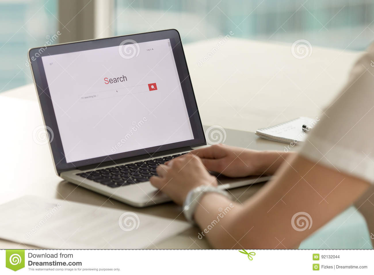 Woman Searching Information In Internet Concept Stock
