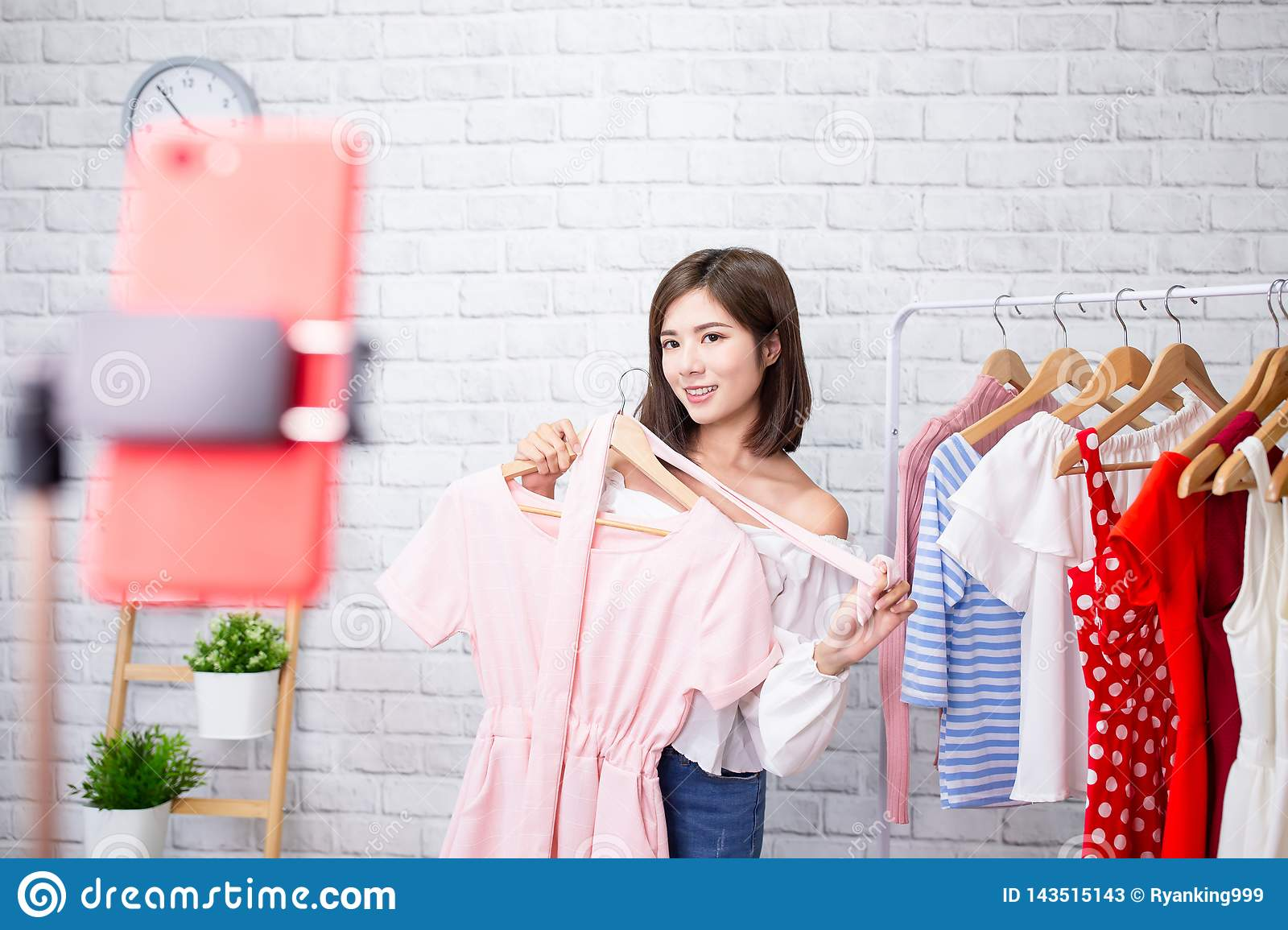 Woman Sell Clothes In Livestreaming Stock Image - Image of