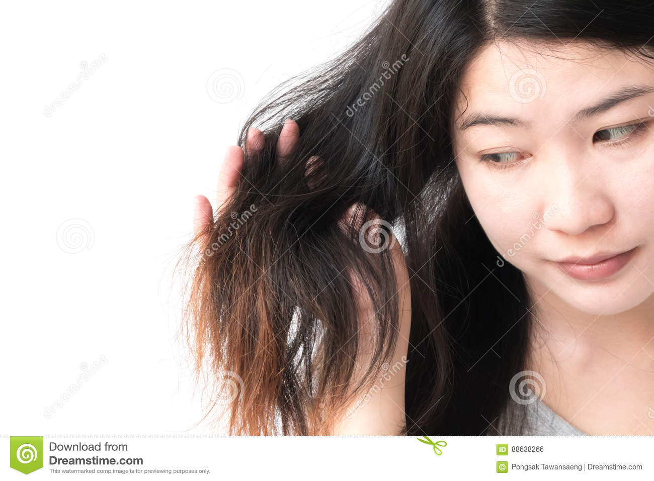 Woman serious damaged hair problem for health care shampoo and beauty product concept