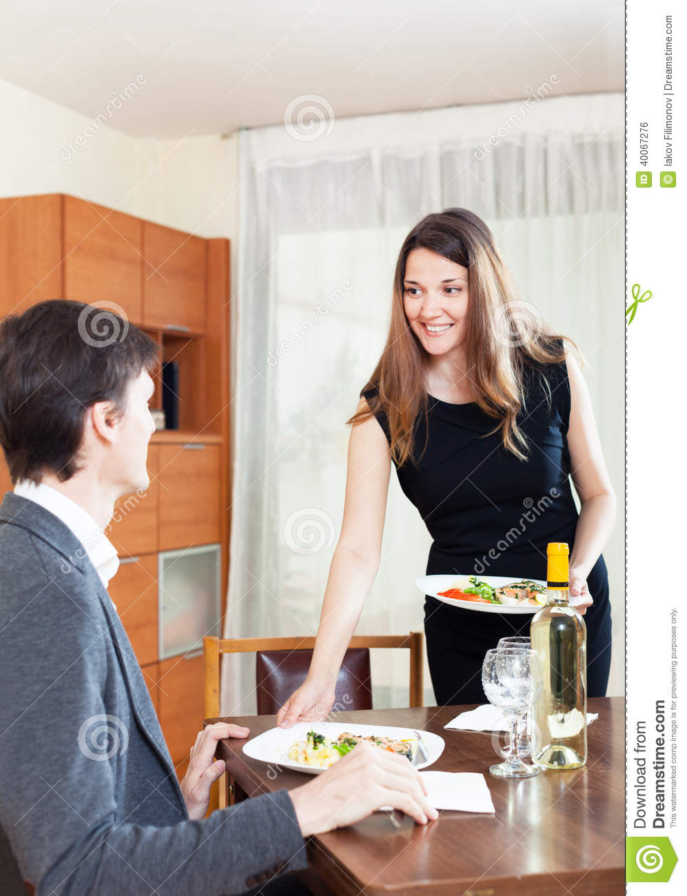 naked woman on dinner table