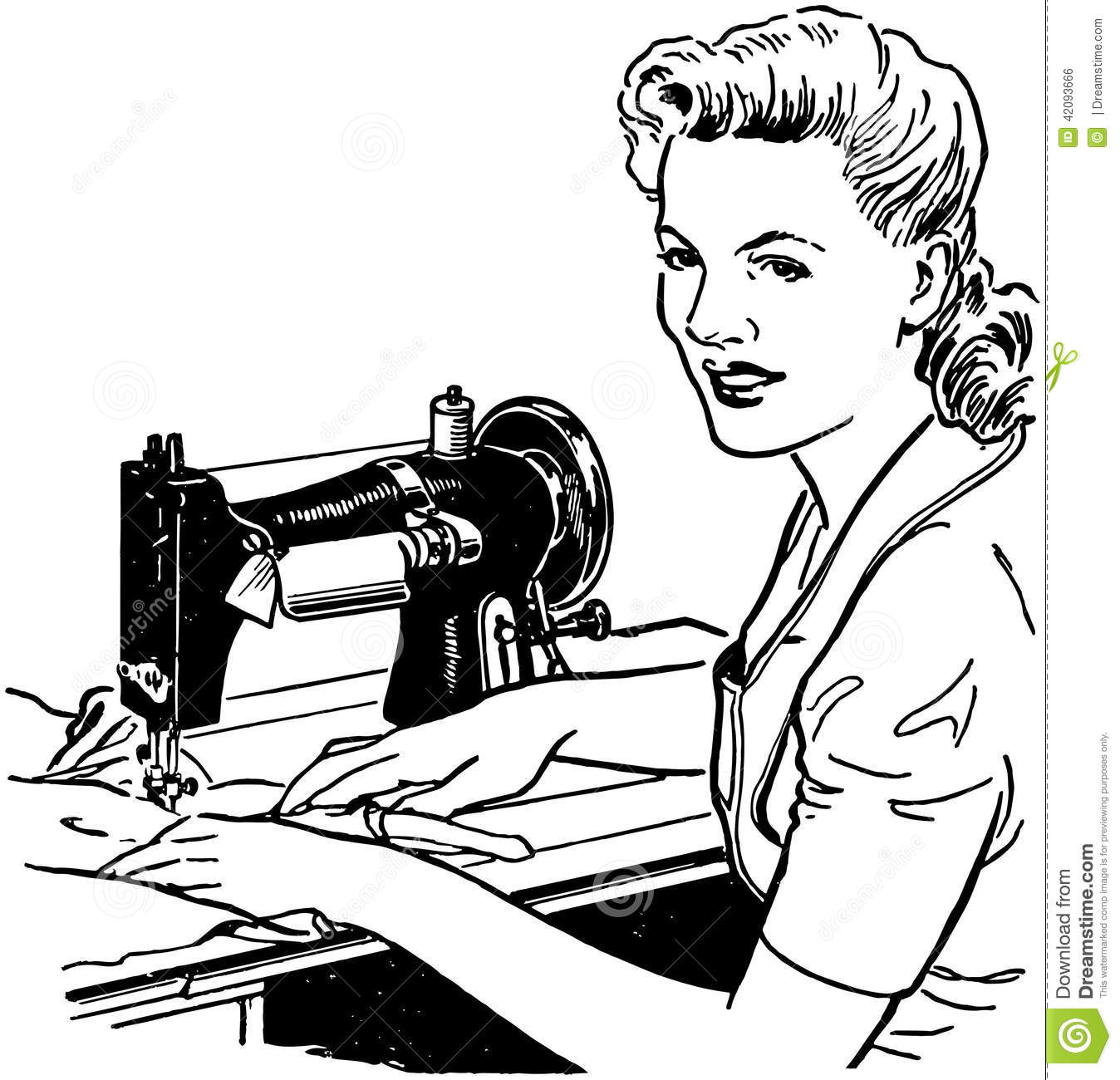 Woman Sewing Stock Vector Illustration Of Tailors Nostalgia
