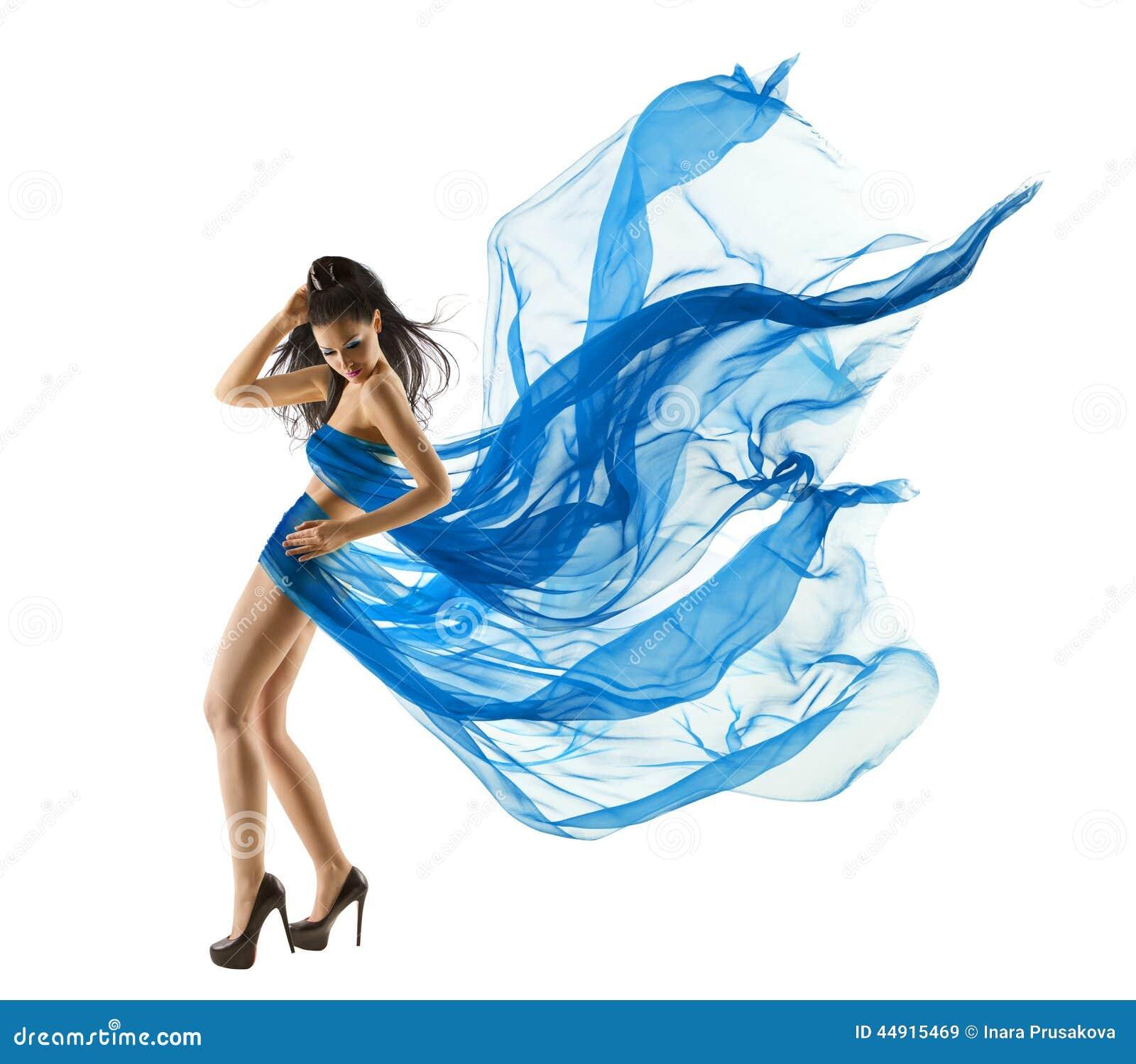 Woman Dancing in Blue Dress. Fashion Model Fluttering Fabric