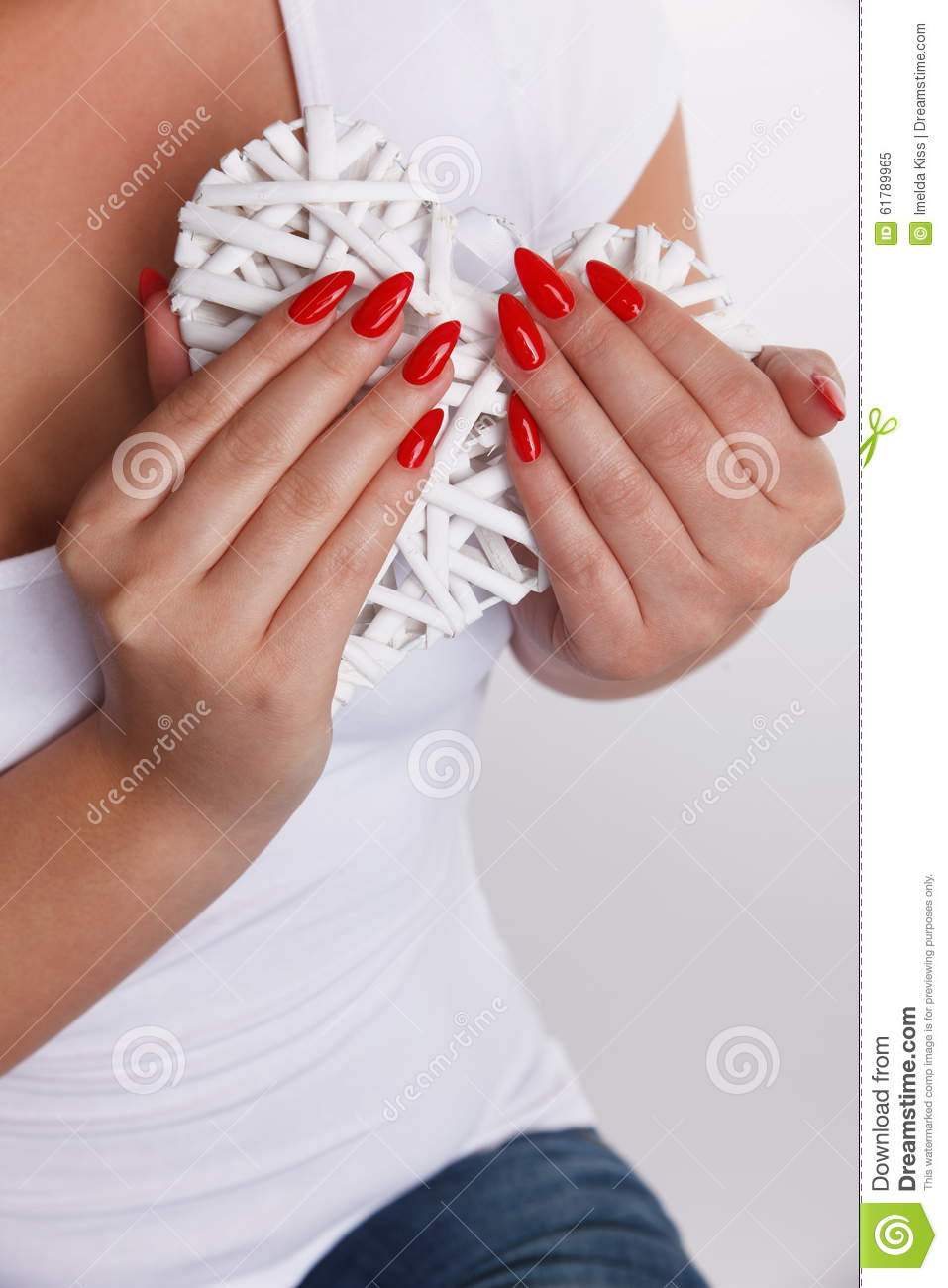 Woman with red nails stock image. Image of decor, girl - 61789965