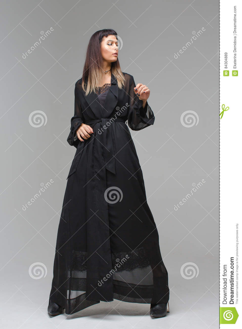 Woman In Transparent Gown Underwear And Shoes Stock Image - Image of ...