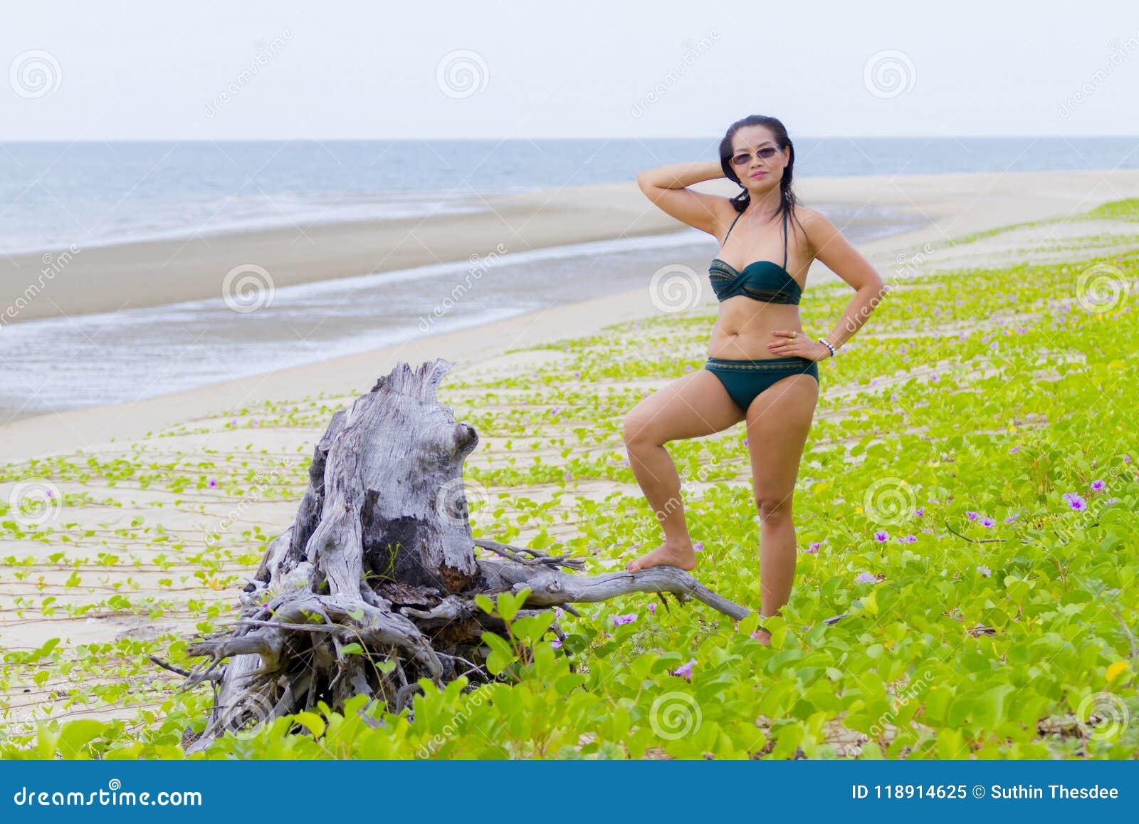 c3558bf01ae Woman shape with bikini beautiful on nature beach Tap Skea, Prachuap  Khirikhan Province Thailand