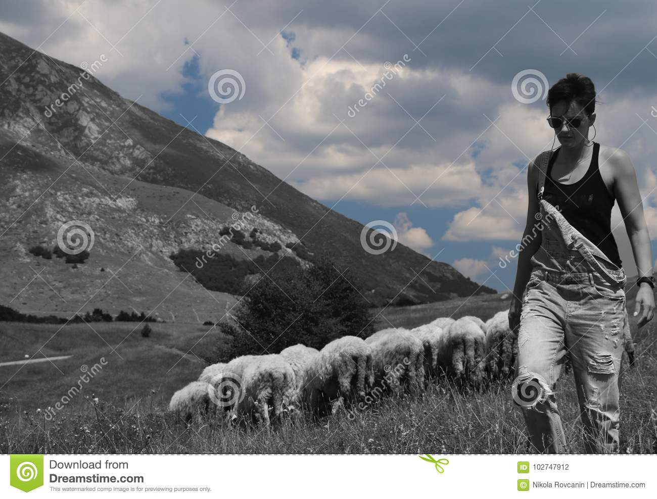 Woman with sheeps in the background.